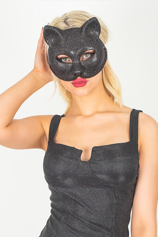 Black Glitter Party Cat Mask