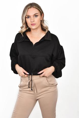 Black Balloon Sleeve Zip Loopback Sweatshirt