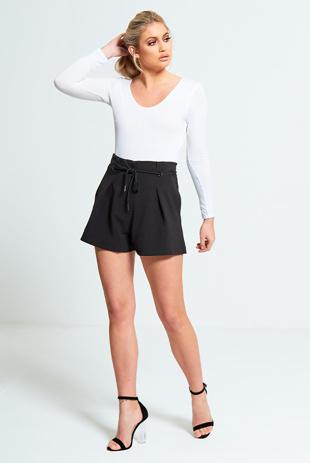 Black High Waist Paperbag Shorts
