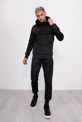 Mens Black Hybrid Pullover Skinny Tracksuit