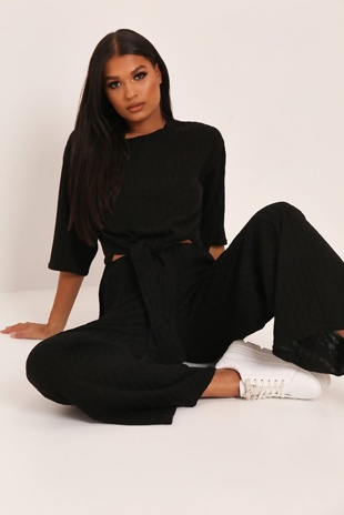 Black Knot Front Top And Pants Set