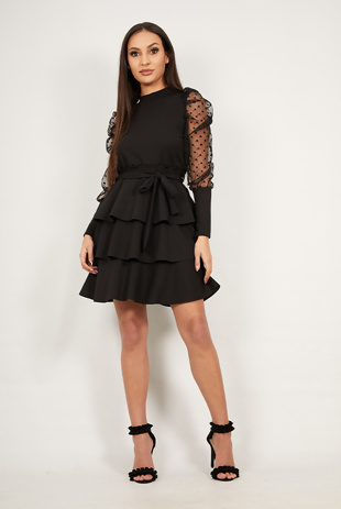 Black Mesh Sleeve Ruffle Tiered Dress