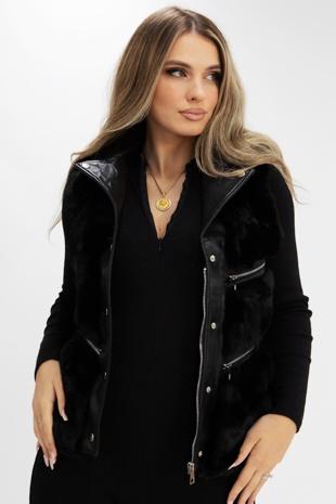 Black PU Faux Fur Gilet