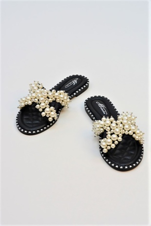 Black Pearl Embellished Slip On Sandals