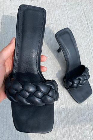 Black Plaited Square Toe High Heel Mule