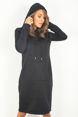 Black Pocket Front Baggy Hood Jumper Dress