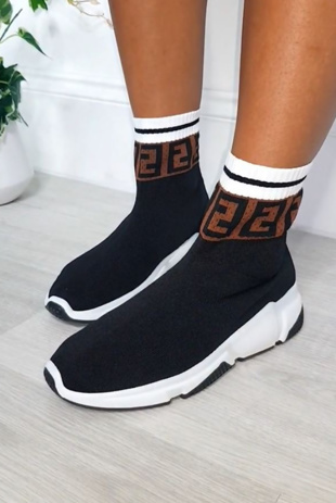 Black Printed Chunky Sock Trainers