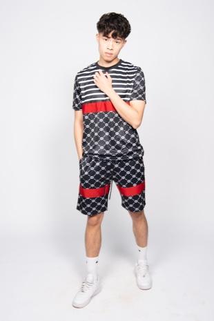 Black Printed Short Sleeve Top and Shorts