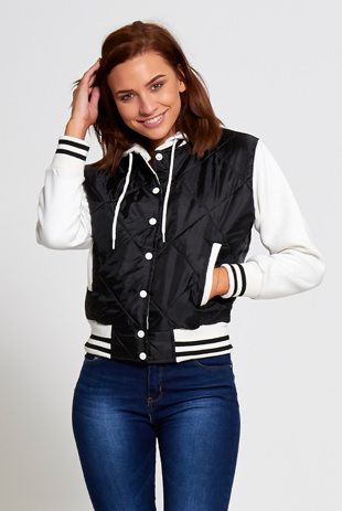 Black Quilted Bomber Varsity Jacket