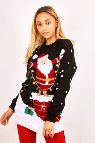 Black Santa Knitted Christmas Jumper
