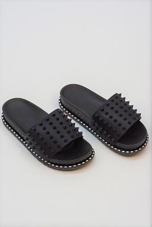 Black Spike Studded Chunky Sliders