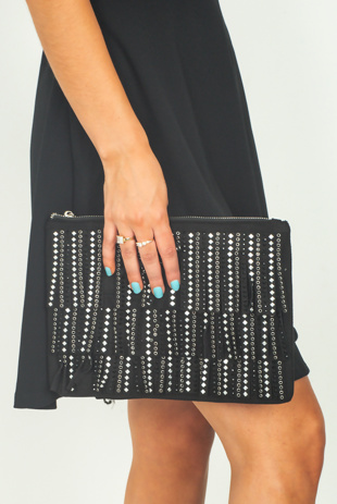 Black Studded Fringe Suede Cross Body Bag