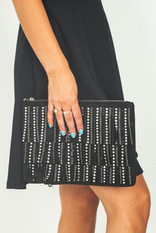 Black Studded Fringe Suede Cross Body Bag