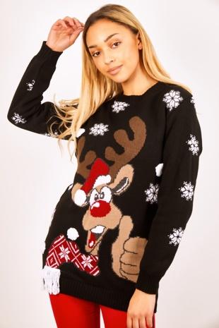 Black Thumbs Up Reindeer Knitted Christmas Jumper