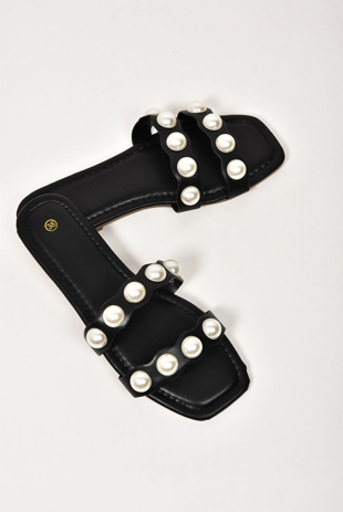 Black Twin Pearl Strap Sandals