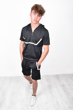 Mens Black Hooded Half Zip Short Set With White Border