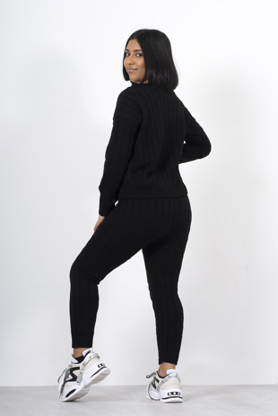 Black cable knit jumper and legging lounge set