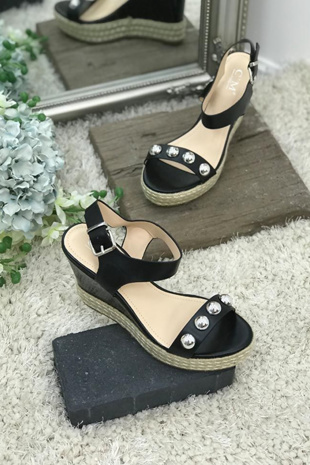 Black Stud Espadrille Wedges