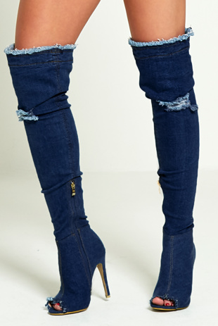 Blue Denim Ripped Thigh Boots
