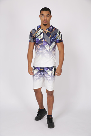 Mens Blue Rose And Chain Ombre Short Set