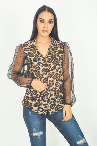 Brown Polka Mesh Sleeve Leopard Shirt