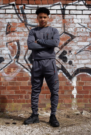 Mens Charcoal Hybrid Pocket Muscle Fit Tracksuit