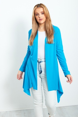 Turquoise Ribbed Waterfall Cardigan