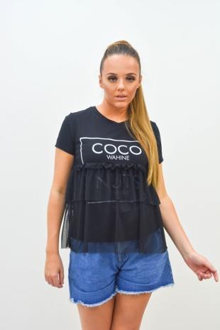 Black Coco Wahine Mesh Overlay T-Shirt