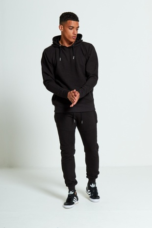 Mens Black Zipped Pockets Detail Ribbed Tracksuit