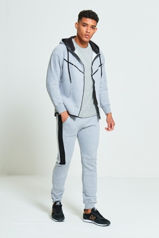Mens Grey Ribbon Panel Zip Through Skinny Tracksuit
