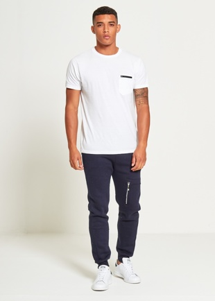 Mens Navy Skinny Fit Joggers With Zip Pockets