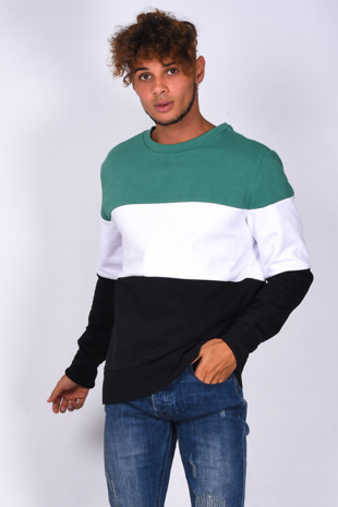 Mens Green Crew Neck Colourblock Sweatshirt