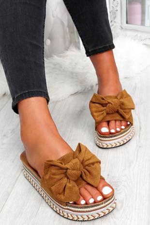 Camel Bow Flatform Sandals