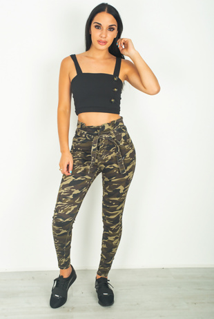 Camo Belted Paperbag Skinny Jeans