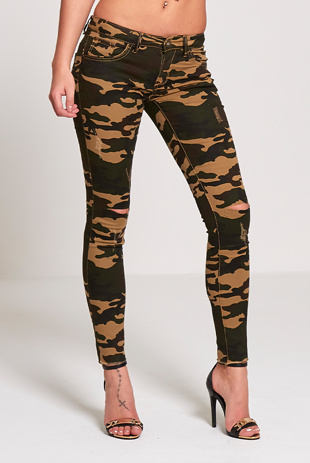Camouflage Knee Ripped Skinny Jeans