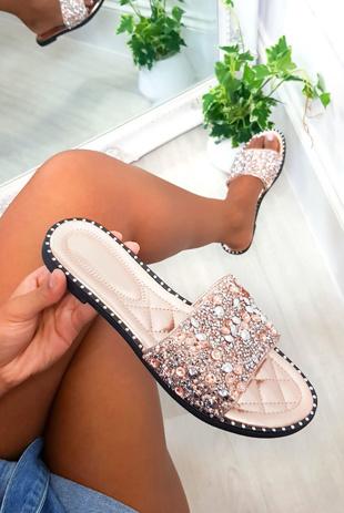 Champagne Embellished Slip On Sandals