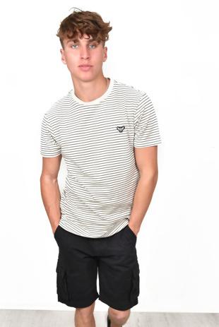 Mens Short Sleeve Stripe T-Shirt Navy/Thin Cream