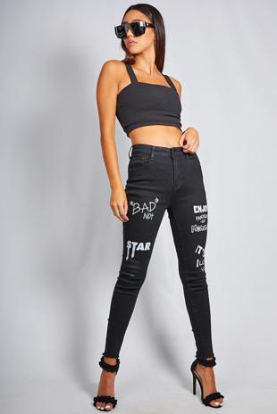 Black Denim Graphic Printed Skinny Jeans