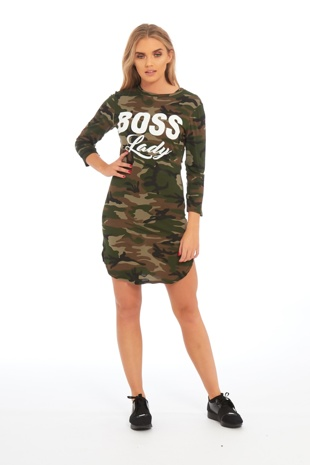 Camo Print Boss Lady Jersey Dress