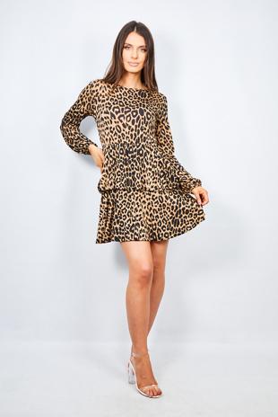 Brown Leopard Print Tiered Frill Mini Dress
