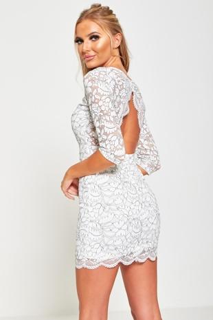 White Floral Lace Cut Out Back Dress