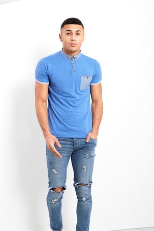 Mens Blue Polka Dot Short Sleeve Polo Shirt