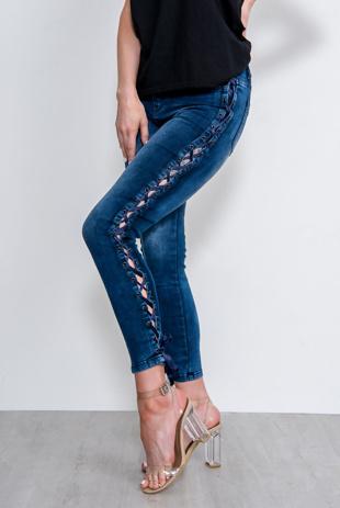 Dark Blue Lace Up Skinny Jeans