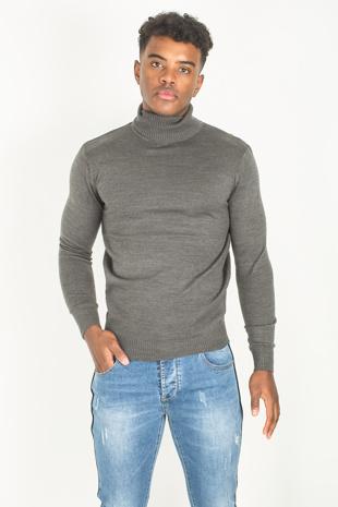 Mens Dark Grey Polo Neck Fine Knit Jumper