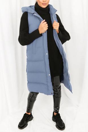Denim Look Longline Hooded Puffer Gilet