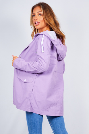 Lilac Hooded Festival Rain Mac