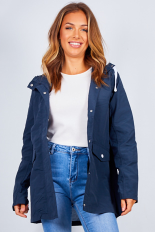 Navy Hooded Festival Rain Mac