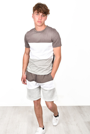 Men Summer Colour Block Short Tracksuit in Grey