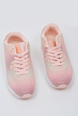 Dusty Pink Lace Up Tie-Dye Mesh Trainers