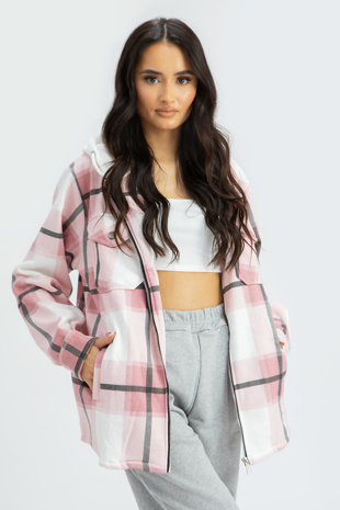 Dusty Pink Check Shacket with Hood